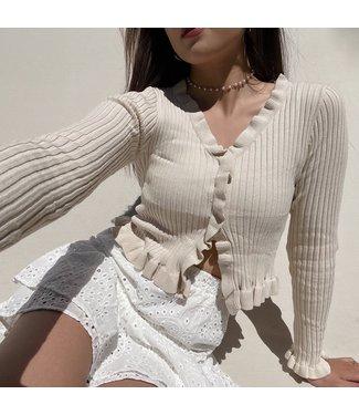 Zoya Ruffle Crop Top / Beige