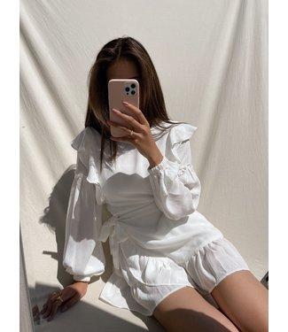 Lune Ruffle Dress / White