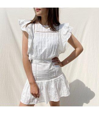 Noella Ruffle Dress / White