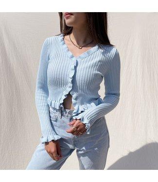 Zoya Ruffle Crop Top / Blue