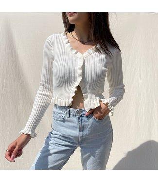 Zoya Ruffle Crop Top / White
