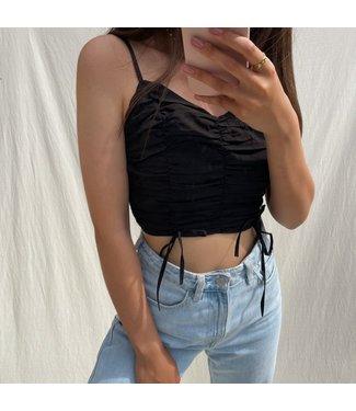 Nimra Ruched Crop Top / Black