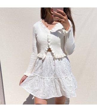 Miki Embroidered Skirt / White