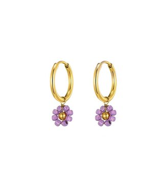 Gold Miyuki Flower Earrings / Lilac