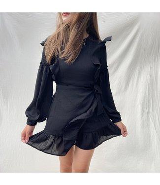 Lune Ruffle Dress / Black