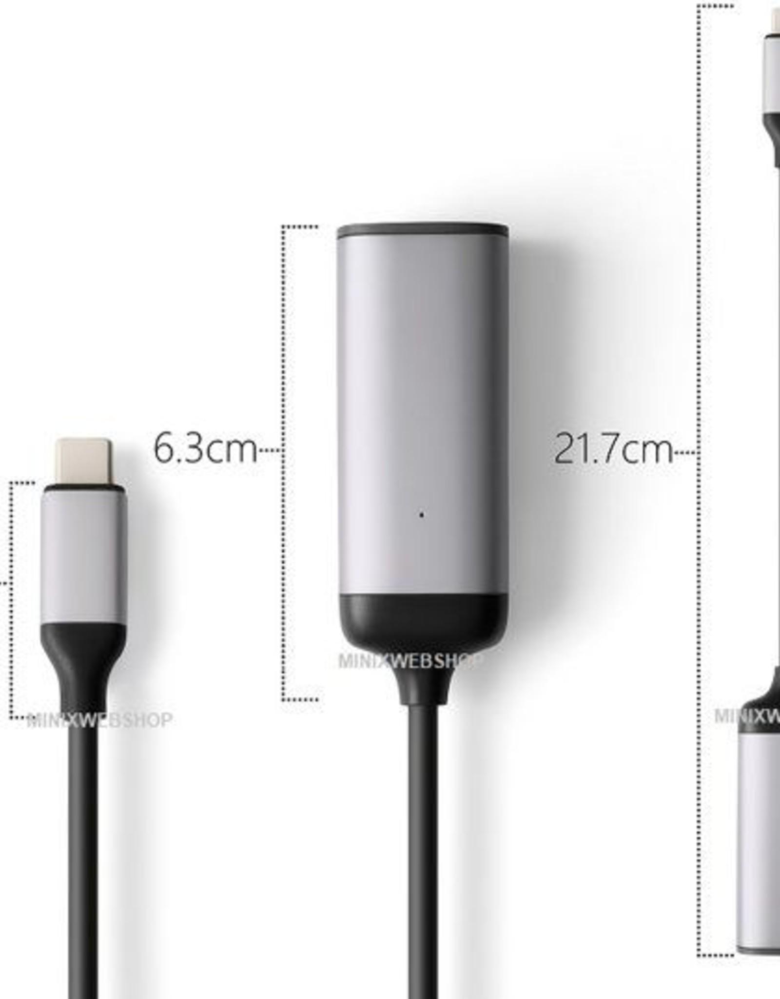 MINIX MINIX NEO-C-EGR USB-C RJ-45 UDB-C naar GigaBit Ethernet adapter Zwart, Grijs kabeladapter/verloopstukje
