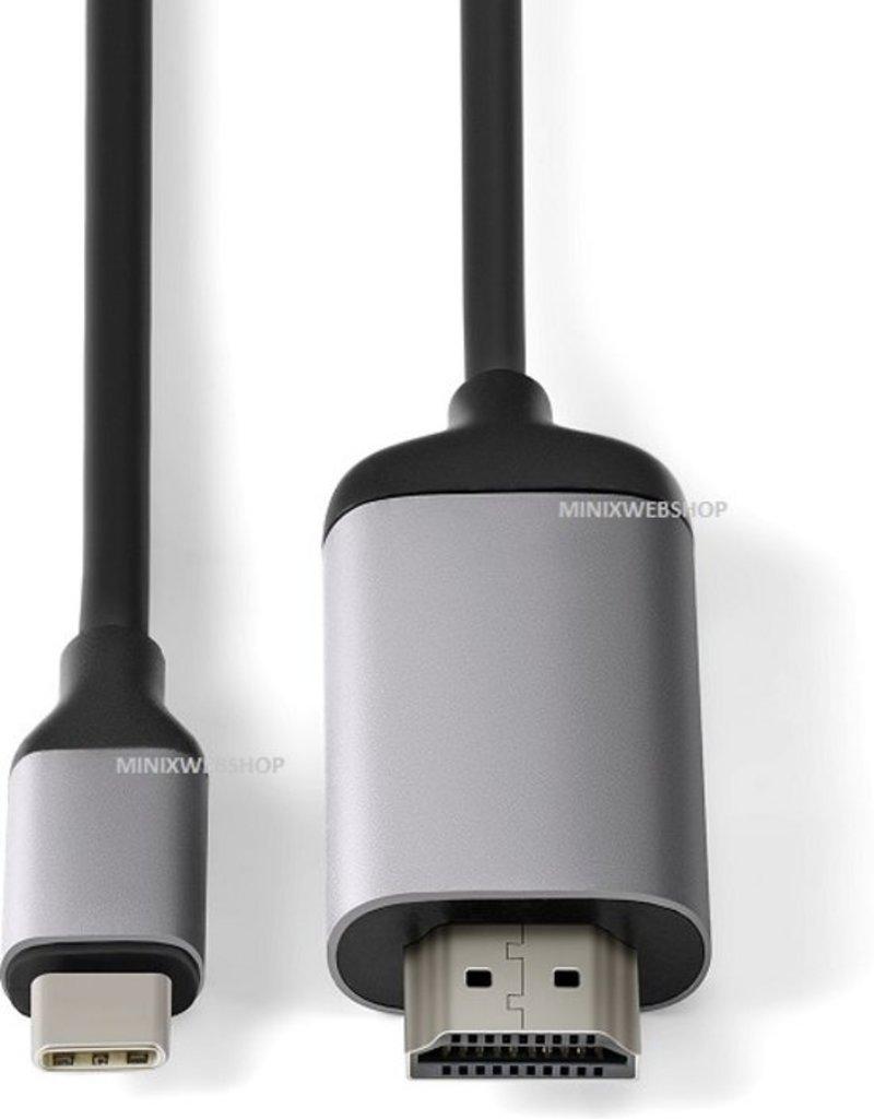 MINIX MINIX NEO-C-4KGR USB-C HDMI Zwart, Grijs kabeladapter/verloopstukje