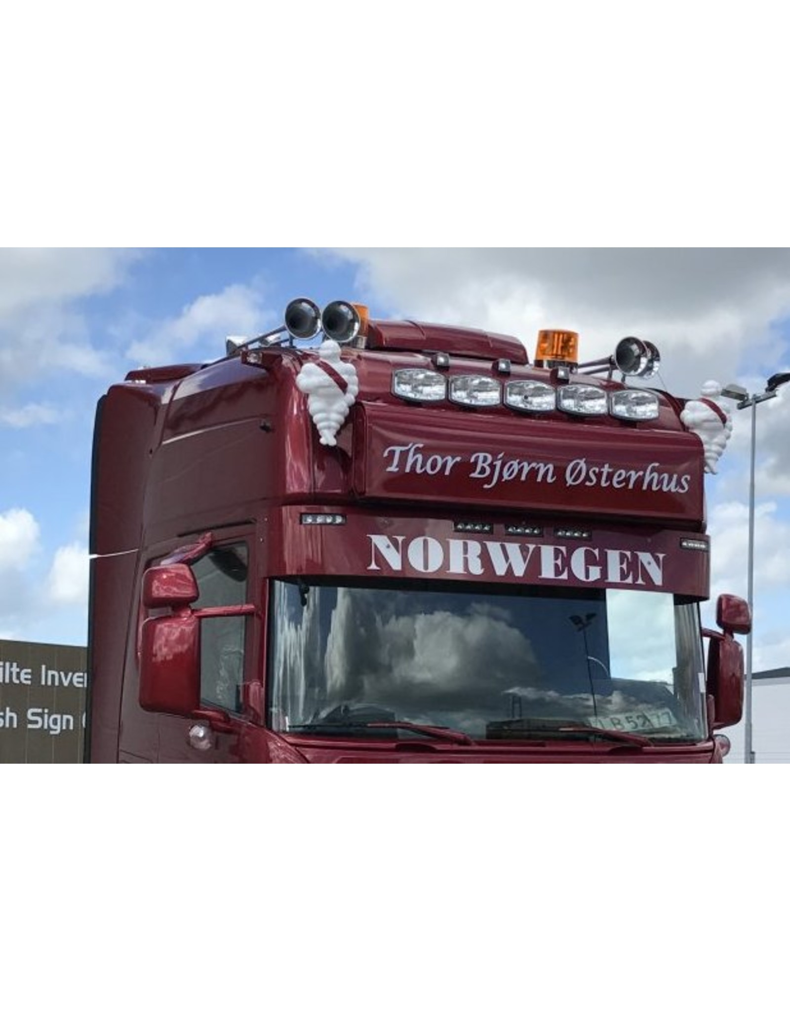 Scania Zonneklep Scania R (RVS) met 5 toplamp gaten