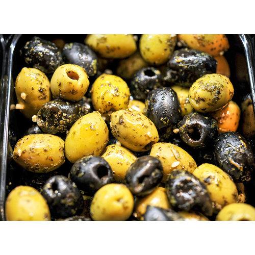 Mixed bio olijven met Italiaanse kruiden