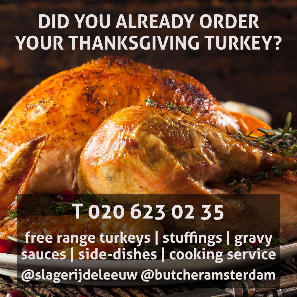 Thanksgiving free range turkey kalkoen Slagerij De Leeuw Amsterdam