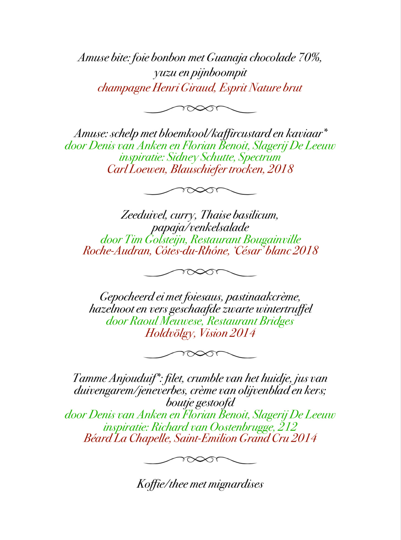 Menu SdL kerstlunch maandag 9 december Bridges