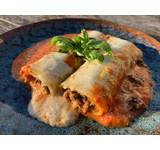 Cannelloni paddenstoel/kalfs- gehakt/tomaat/mascarpone