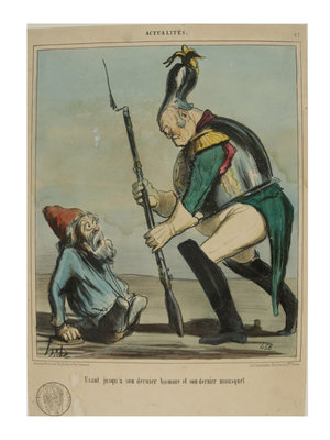Belasting & Douane Museum Satirical print with French tax stamp, 'Actualités', D. Honoré