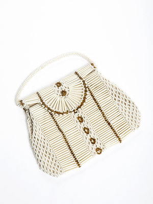 Tabakshistorisch Museum Pouch bag with white beads, 1950s