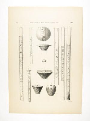 Rijksmuseum van Oudheden Litho Egyptische stokken en knoppen