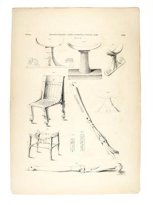 Rijksmuseum van Oudheden Litho van Egyptische gebruiksvoorwerpen