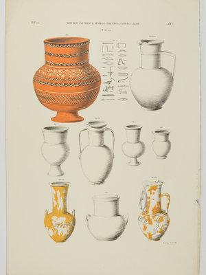 Rijksmuseum van Oudheden Litho Egyptische vazen