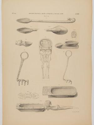 Rijksmuseum van Oudheden Litho Egyptische lepels