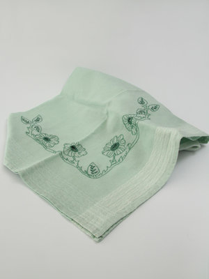 Amsterdam Pipe Museum Tablecloth, light green linen, embroidered
