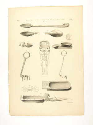 Rijksmuseum van Oudheden Lithograph of Egyptian spoons