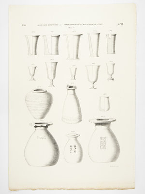 Rijksmuseum van Oudheden Lithograph of Egyptian vases
