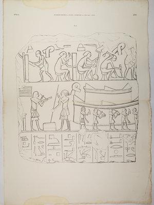Rijksmuseum van Oudheden Litho Egyptisch reliëf van werkplaats
