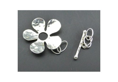 Kapittelslot bloem gemoffeld zilver 24 mm