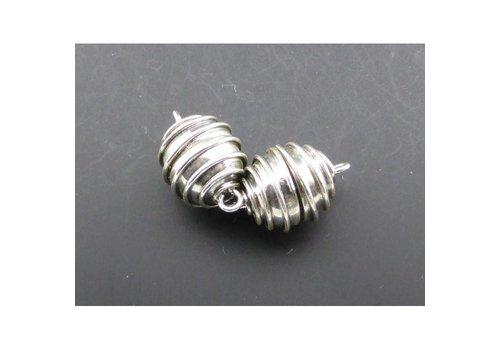 Magneet, model OVAAL DRAAD, zilver, 16 mm