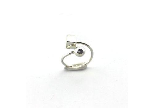 Saraswati Silver Ring, model BOLLETJE, BLOKJE, zilver, Saraswati