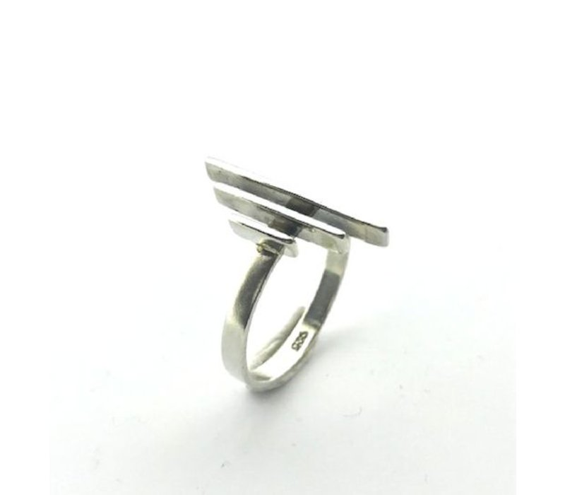 Ring, model DRIE STAAFJES, zilver, Saraswati