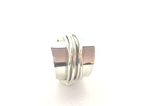 Saraswati Silver Ring, model GLAD DRAAD, zilver, Saraswati