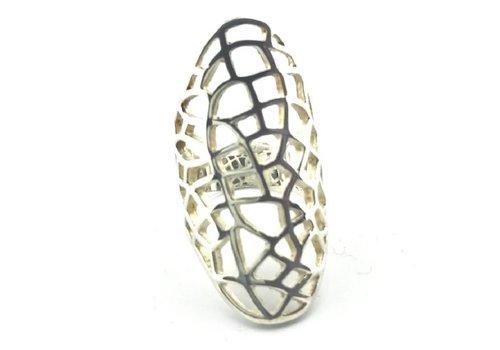 Saraswati Silver Ring,  model OPEN GEWERKT, zilver, Saraswati
