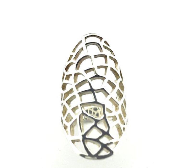 Ring,  model OPEN GEWERKT, zilver, Saraswati