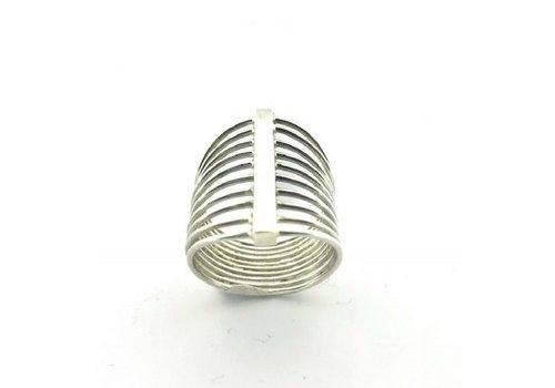 Saraswati Silver Ring, model DUNNE STANGETJES, zilver, Saraswati