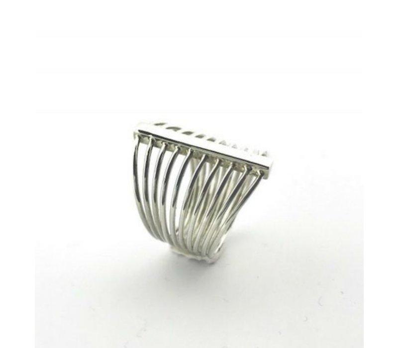 Ring, model DUNNE STANGETJES, zilver, Saraswati