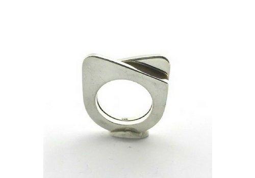 Saraswati Silver Ring, model 2 VLAKKEN IN 1, zilver, Saraswati