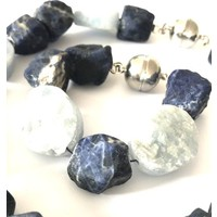 Ketting en  armband set, model AMATHYST blauw en lichtblauw, Eigen Collectie