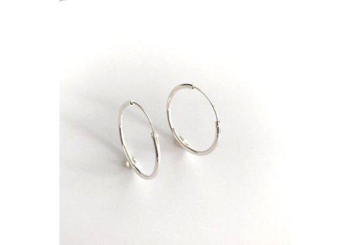 Eigen Collectie Oorbellen, model CREOLEN, doorsnee  3 cm,  zilver