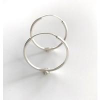 Oorbellen, model CREOLEN, doorsnee  3 cm,  zilver