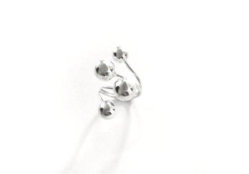 Eigen Collectie Ring, model 4-BOLLEN, zilver, Eigen Collectie