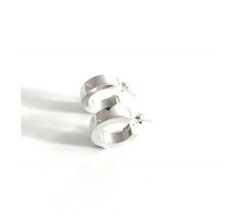 Oorbellen, model ROND BREED, zilver, Eigen Collectie