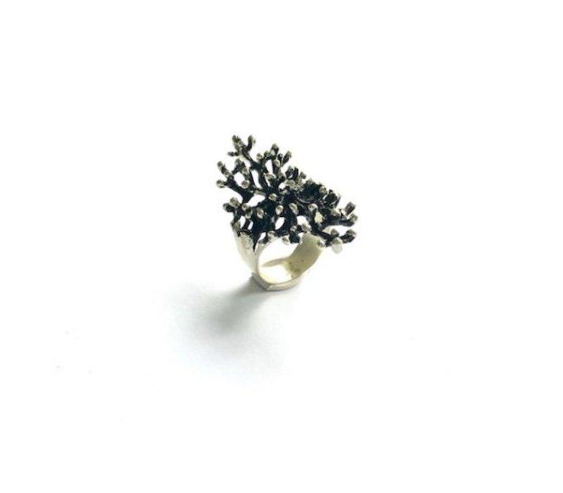 Ring, model ZWARTE TAKJES, zilver, Eigen Collectie