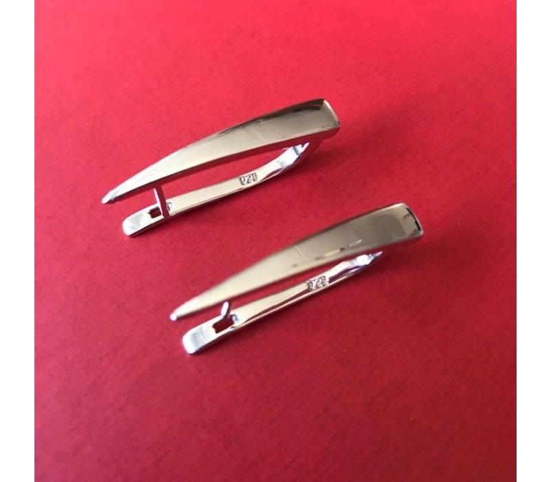 Oorbellen, model SPITSE STANG, zilver, Eigen Collectie