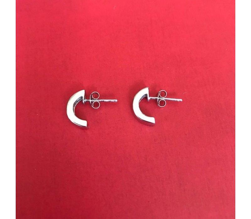 Oorbellen, model HALF ROND KLEIN, zilver, Eigen Collectie