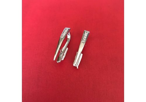 Eigen Collectie Oorbellen, model SPITSE STANG ZIRKONIA VOORZIJDE, zilver, Eigen Collectie