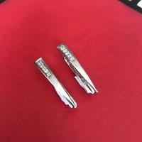 Oorbellen, model SPITSE STANG ZIRKONIA VOORZIJDE, zilver, Eigen Collectie