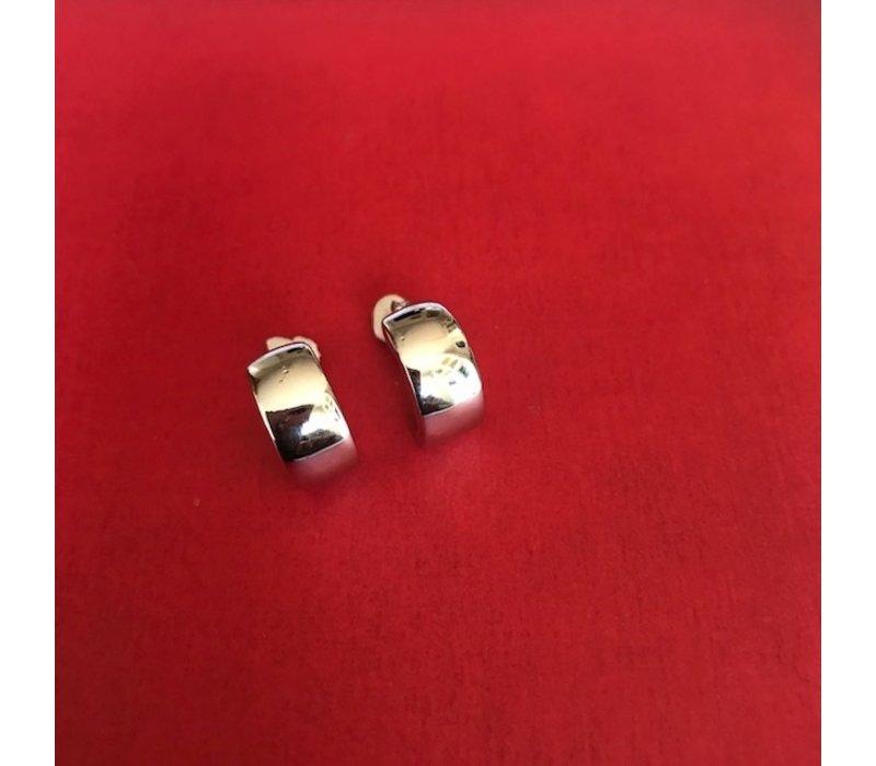 Oorbellen, model HALFROND GROOT, zilver, Eigen Collectie