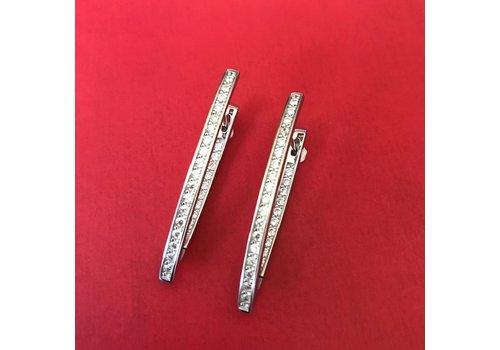 Eigen Collectie Oorbellen, model SPITSE STANG GEVULD MET ZIRKONIA, zilver, Eigen Collectie