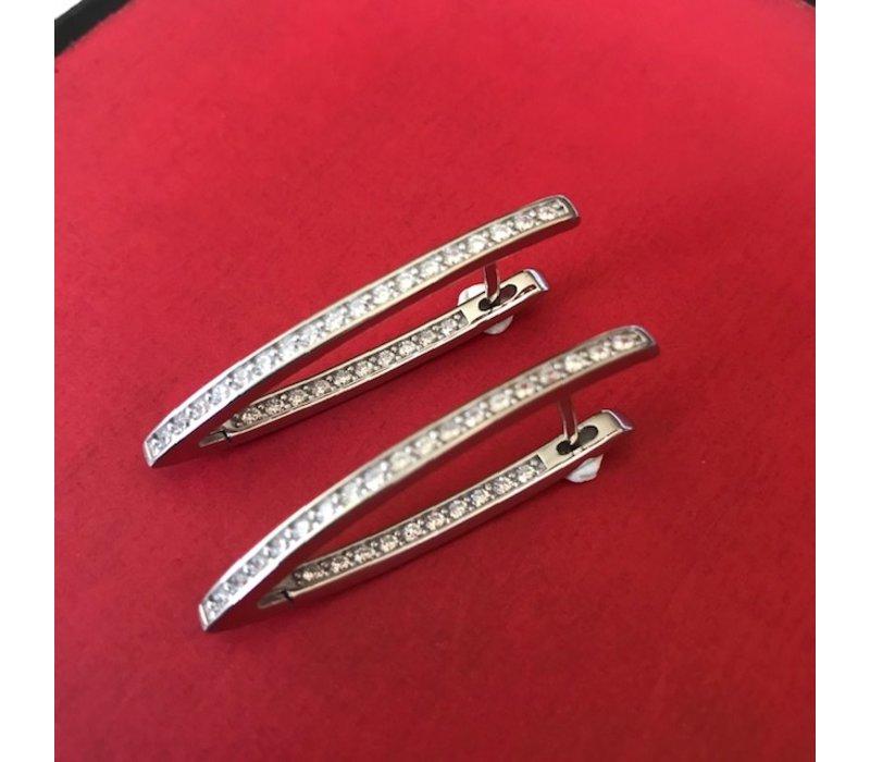 Oorbellen, model SPITSE STANG GEVULD MET ZIRKONIA, zilver, Eigen Collectie