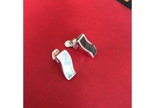 Eigen Collectie Oorbellen, model SLAG MET PARELMOER, zilver, Eigen Collectie